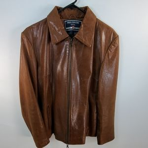 FREE COUNTRY USA BROWN LEATHER JACKET SIZE LARGE